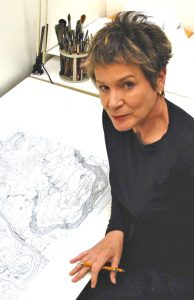 Author Illustrator Roxie Munro in studio